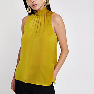 Yellow shirred high neck sleeveless top