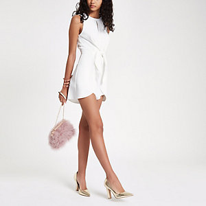 White twist front frill hem playsuit