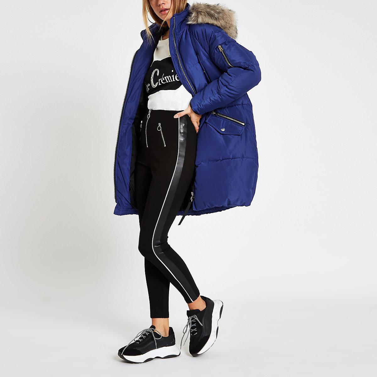 Blue faux fur trim longline puffer jacket