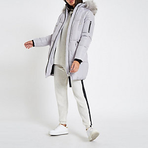 Grey faux fur trim longline puffer jacket