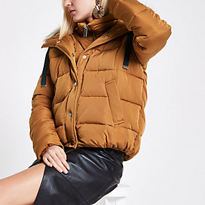 Tan faux fur hooded puffer jacket