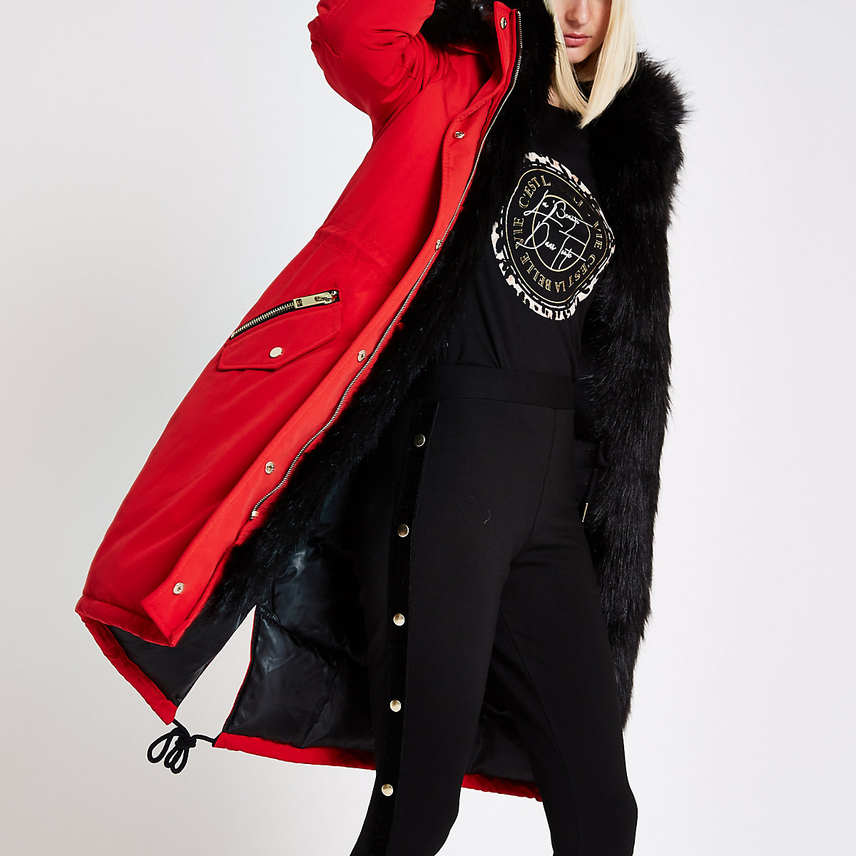 Bright red faux fur trim parka coat