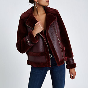 Dark purple faux fur aviator jacket