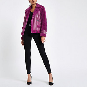 Purple faux fur aviator jacket
