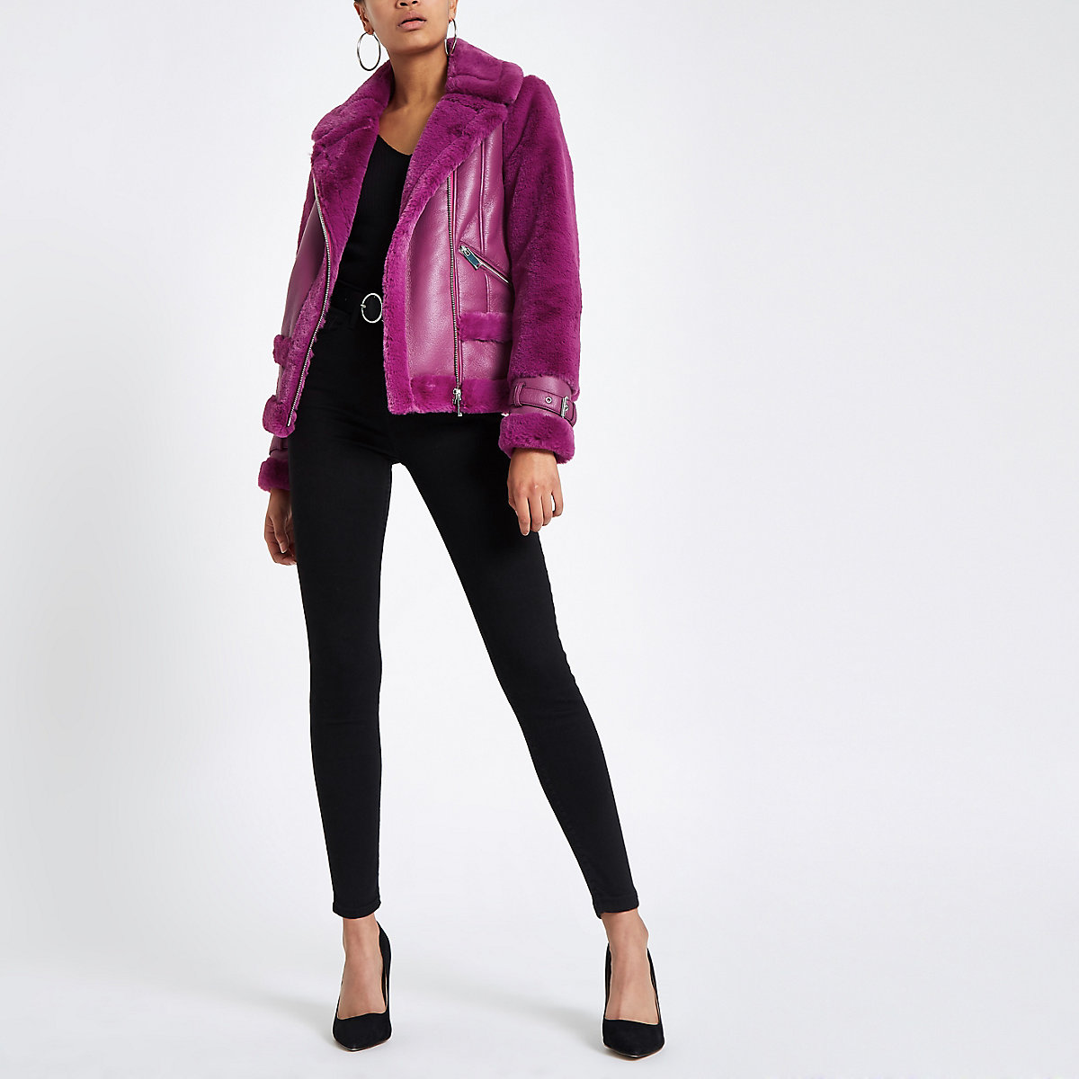 Purple faux fur aviator jacket