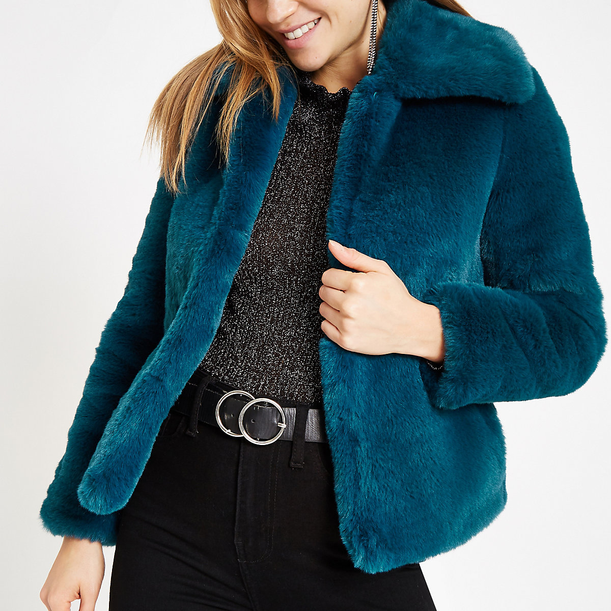 Dark blue faux fur coat