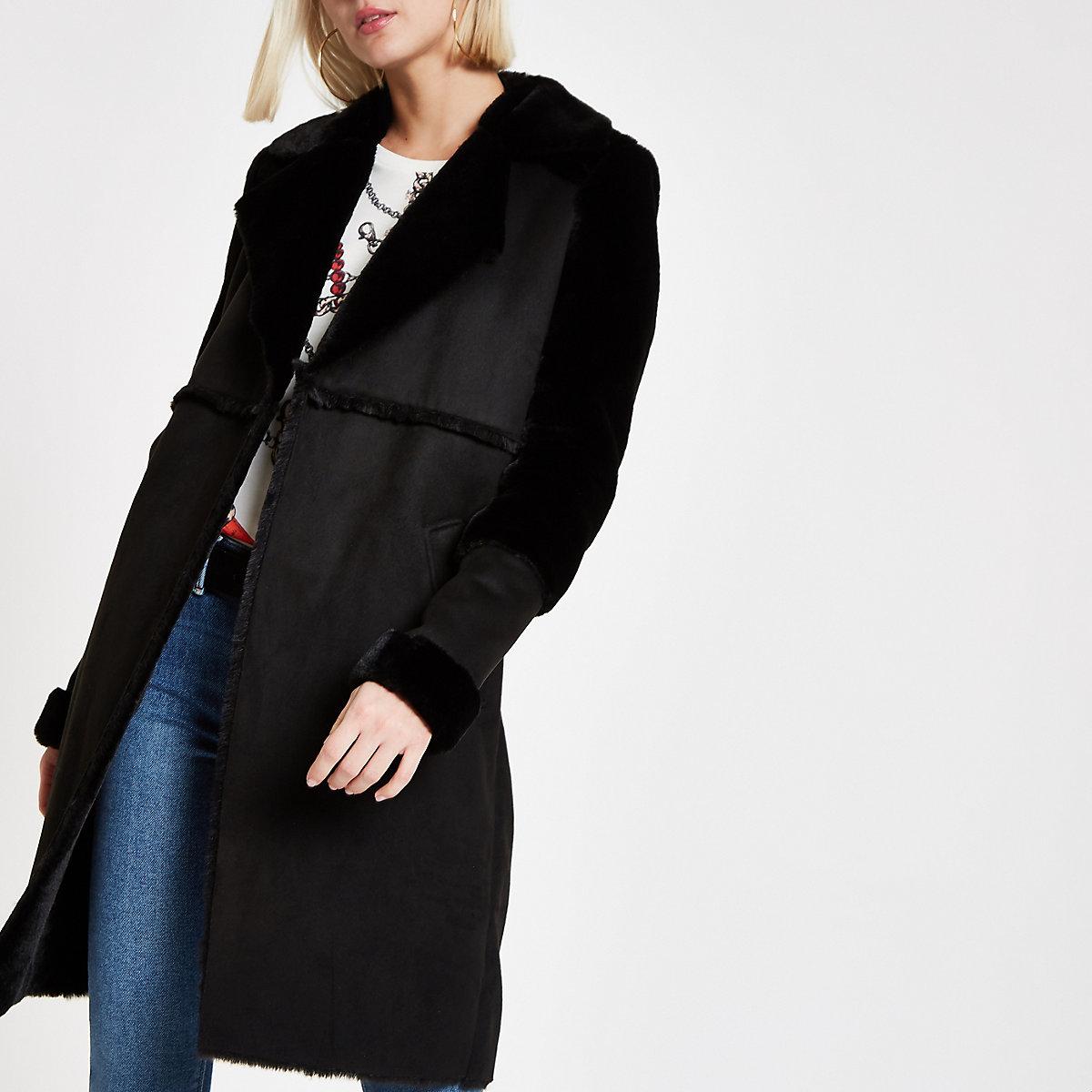 Black suedette faux fur fallaway coat
