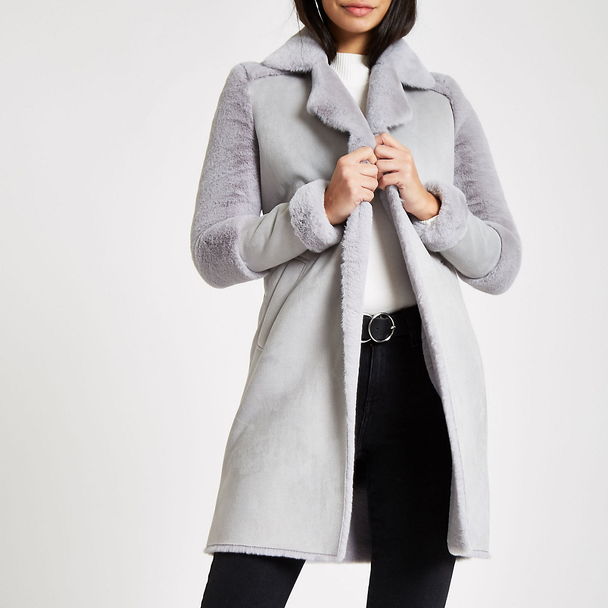 Grey faux fur lined coat