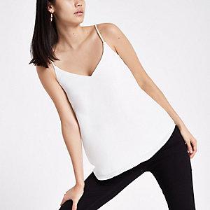White embellished strap cami top