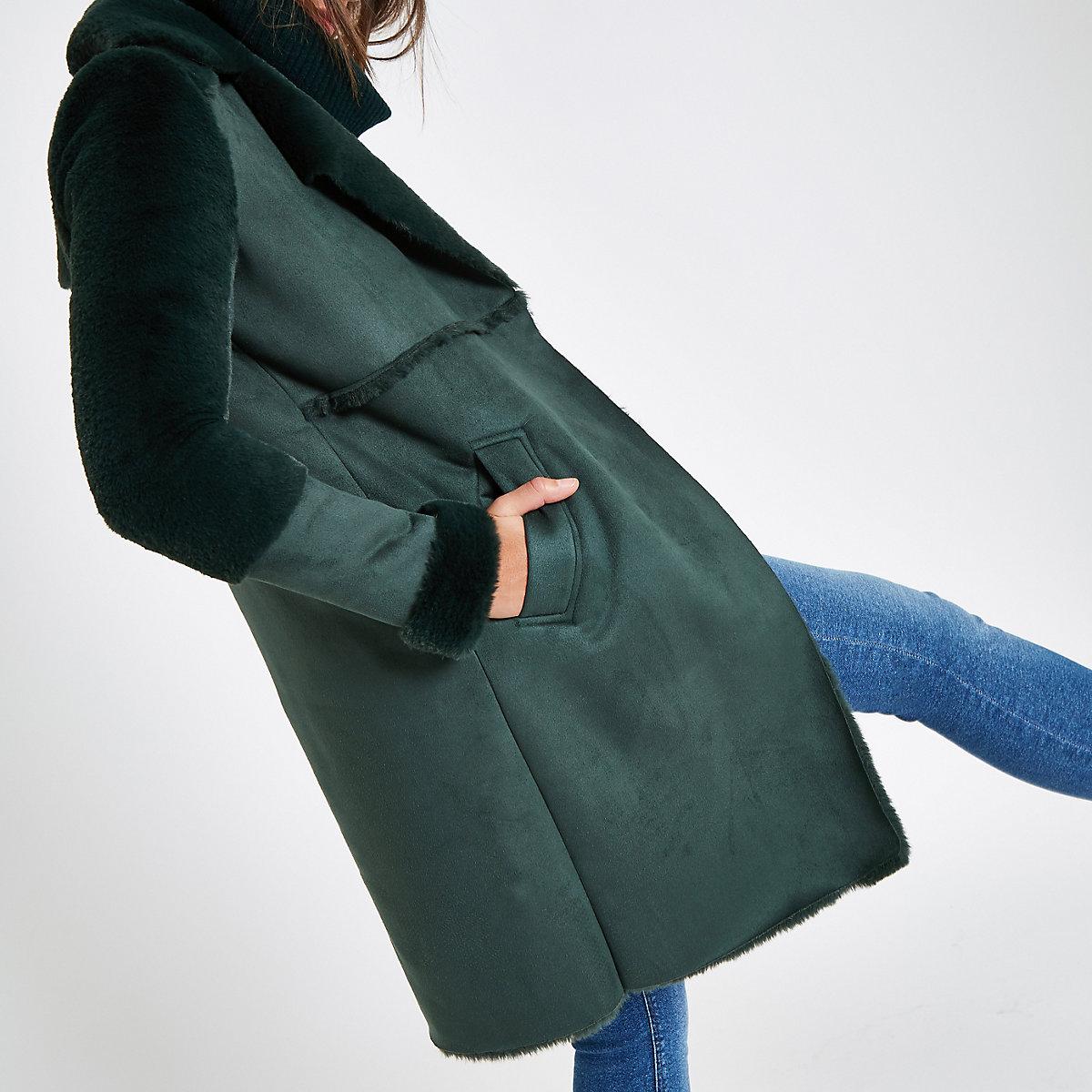 Green suedette faux fur lining coat