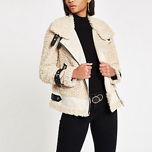 Beige borg aviator jacket