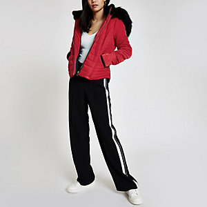 Red faux fur hood padded jacket