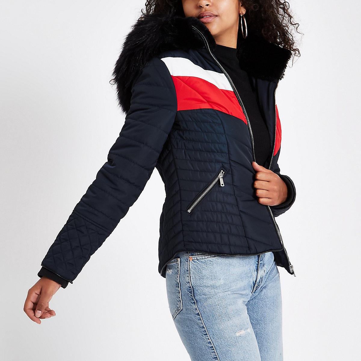 Navy faux fur hooded chevron padded jacket