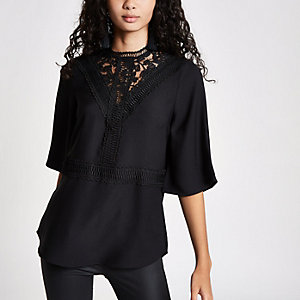 Black lace insert high neck top