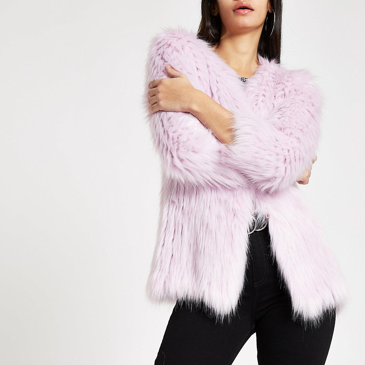Purple knit faux fur coat