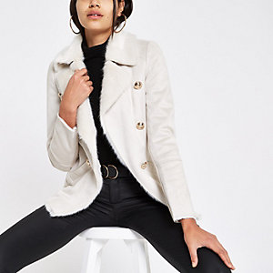 Cream faux shearling chuck on coat