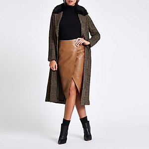 Brown leather wrap pencil skirt