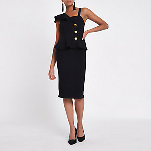 Black rib button Bodycon midi dress
