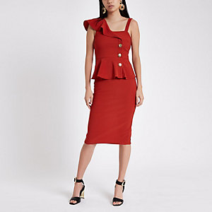 Rust rib button Bodycon midi dress