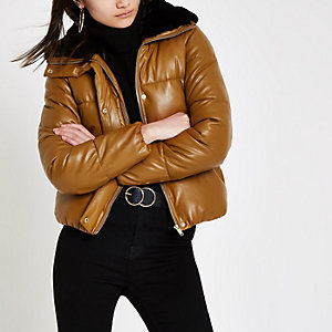 Brown faux fur collar puffer jacket