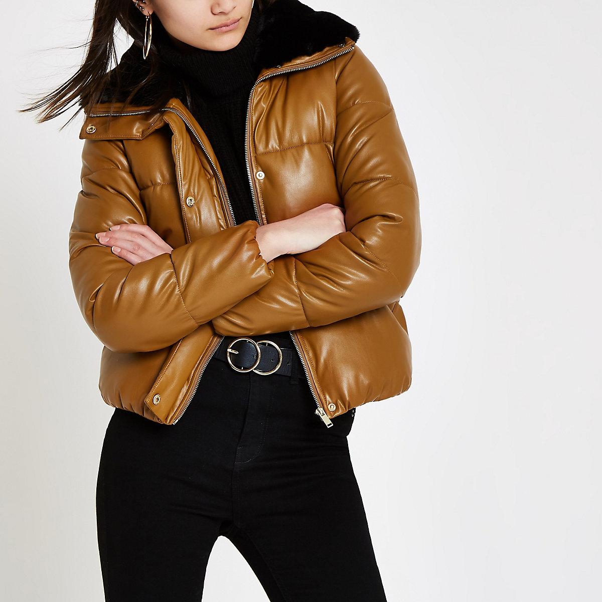 Brown faux fur collar puffer jacket