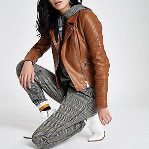 Braune, gesteppte Bikerjacke aus Leder