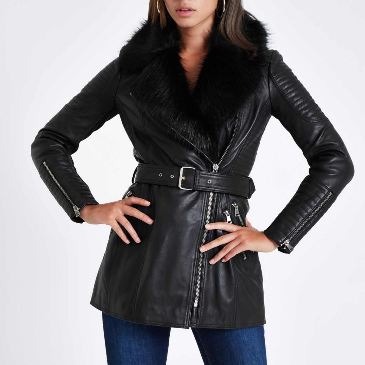Black faux fur trim leather belted coat