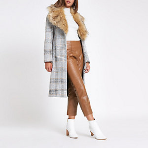 Brown leather flared trousers