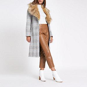 Pantalon évasé en cuir marron
