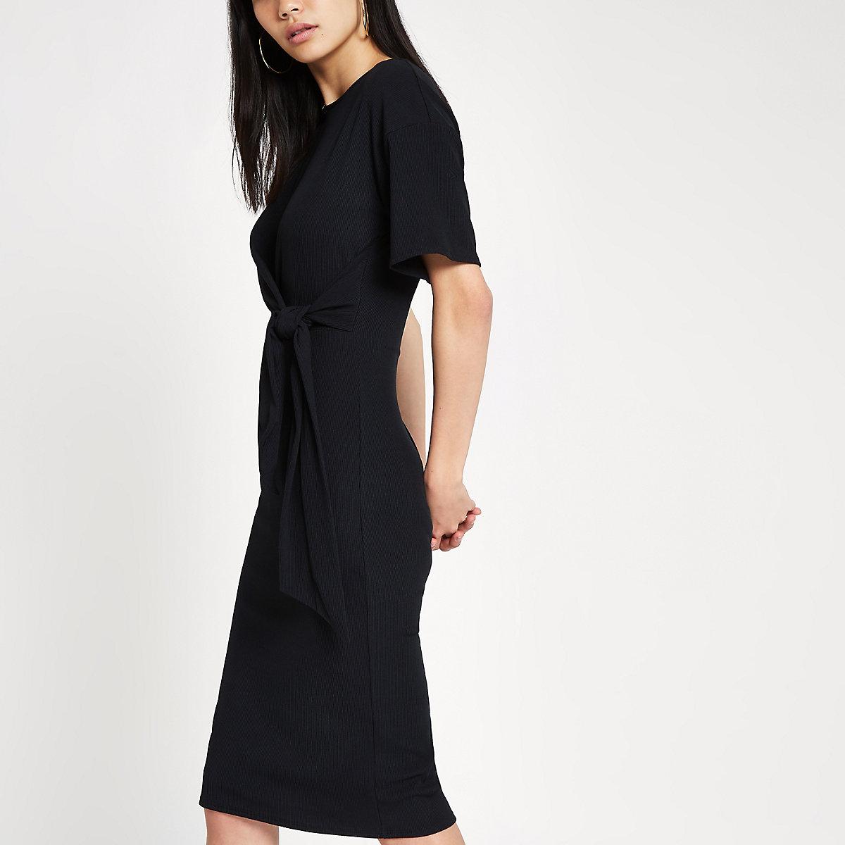 Black short sleeve tie front bodycon dress