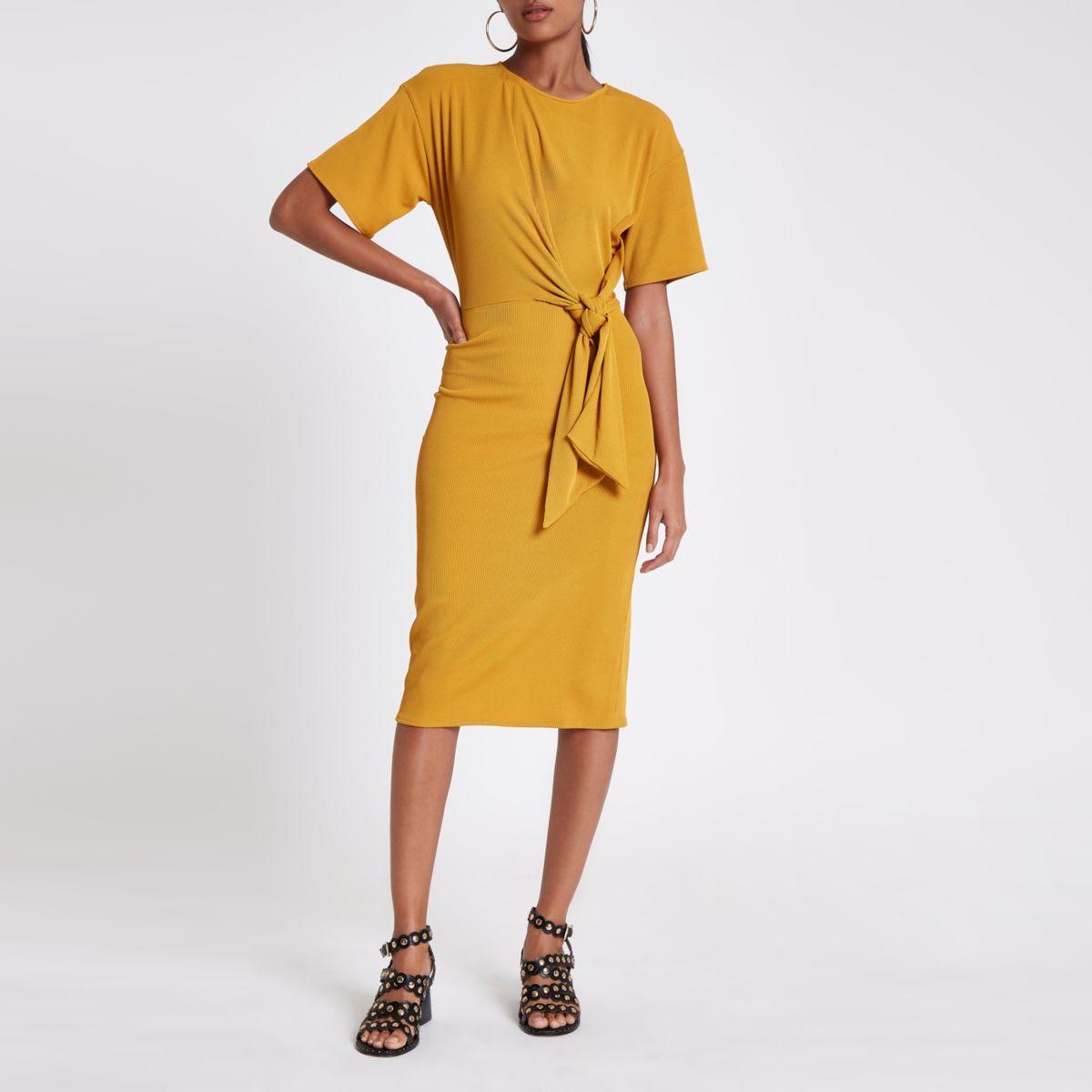 Yellow rib tie front midi dress