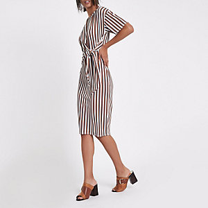Cream stripe rib tie front midi dress