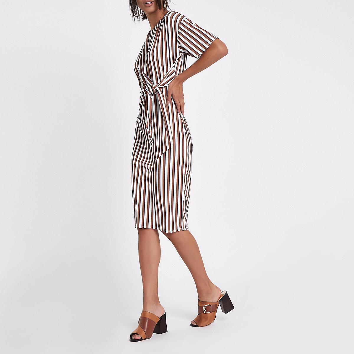 Cream stripe rib tie front midi dress
