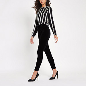 Black velvet belted trousers