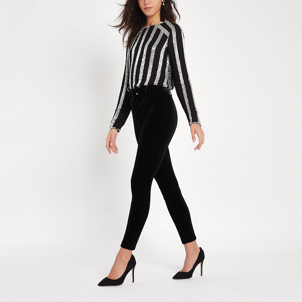Black velvet belted trousers