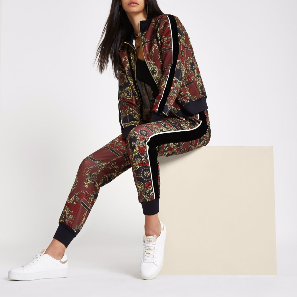 RI 30 red scarf print tracksuit bottoms