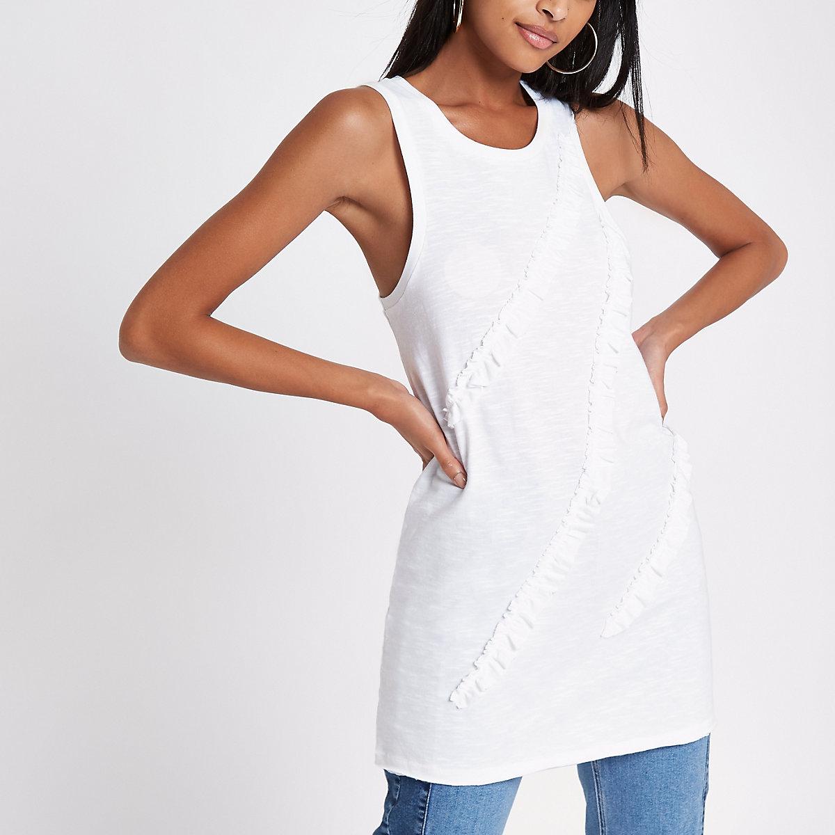 White longline ruffle front vest