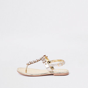 Gold gem embellished leather sandals