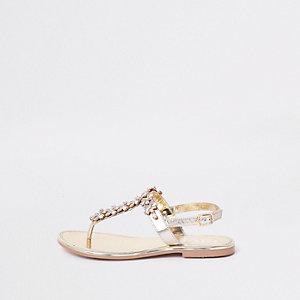 Sandales en cuir dorées ornées de pierreries