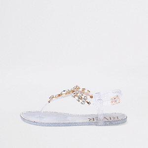 Silberne Jelly-Sandalen mit Schmucksteinverzierung