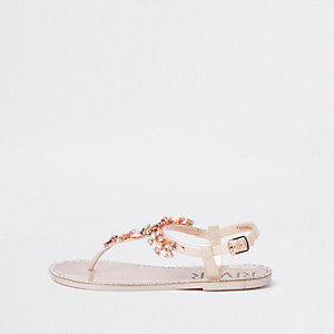 Gold jewel embellished sandals