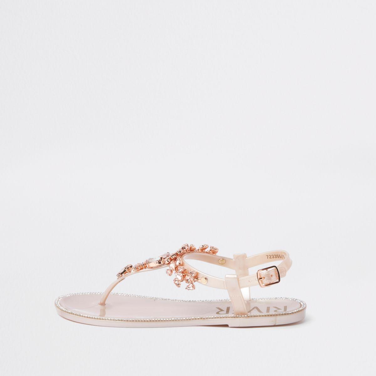 Gold jewel embellished sandals