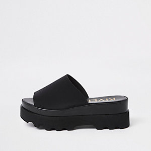 Black chunky slip on sandals
