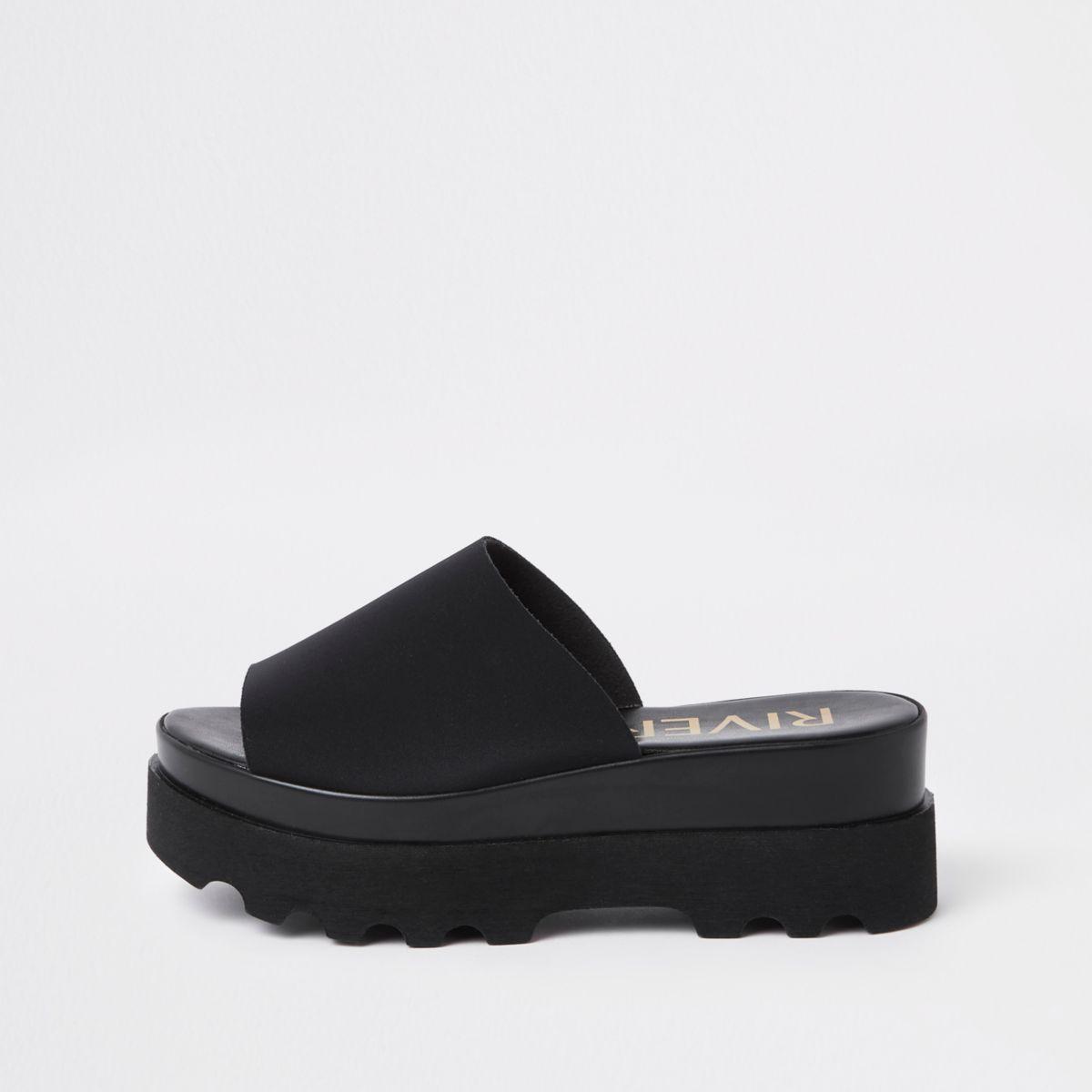 Black chunky slip on sandals