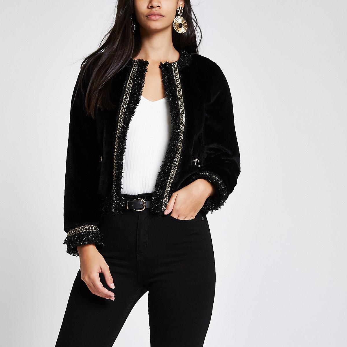 Black boucle chain trim trophy jacket