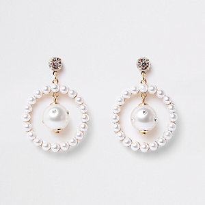 Gold tone pearl hoop drop earrings