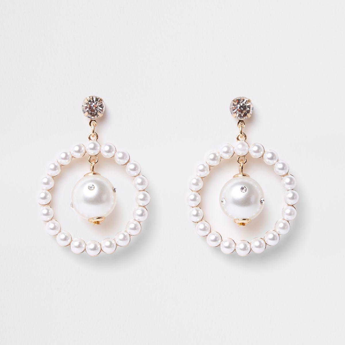 Gold tone pearl hoop drop earrings
