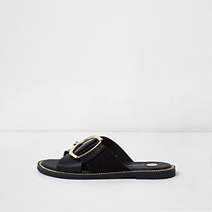 Black buckle strap mule sandals