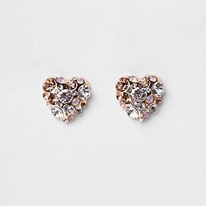 Rose gold tone diamante heart earrings