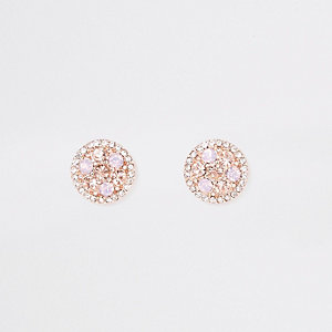 Rose gold tone silk stone stud earrings